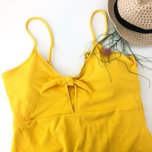 Other - Yellow Stripe Ribbed Tie Front Cut Out Swimsuit 2X
